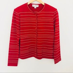 St John red santana knit gold striped cardigan